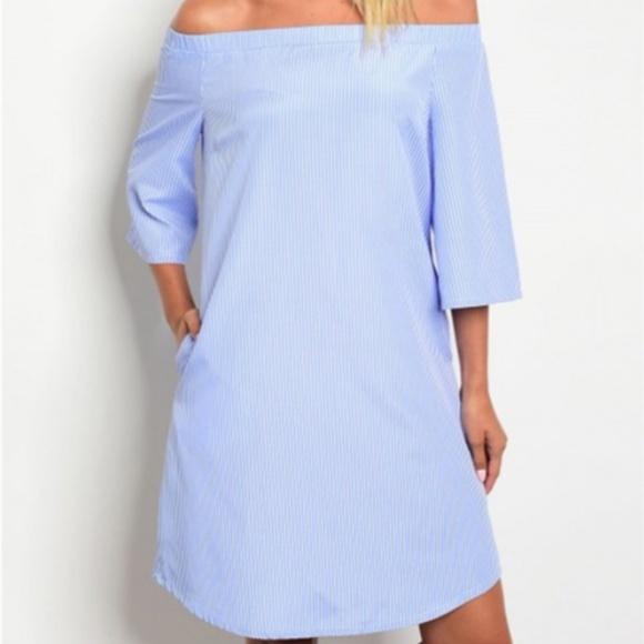 93a2f51d0ecc Blue and White Stripe Off Shoulder Shift Dress
